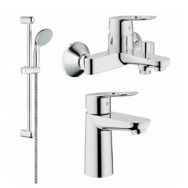 Grohe BauLoop 123214S Смесители для умывальника, ванны, стойка (23337000+32815000+27598000)