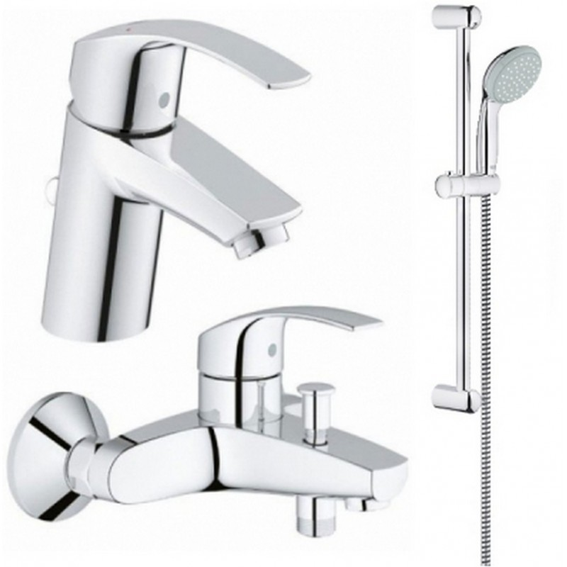 Grohe Eurosmart 123238/1  Смесители для умывальника, ванны, стойка (33265002+33300002+27598000)